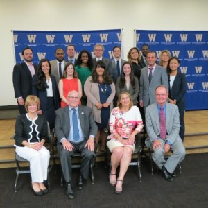 Bottom Row (Left to Right): Prof. Linda Kisabeth, WMU-Cooley Law School; Hon. Fred M. Mester (Retired); Hon. Michelle M. Rick, 29th Circuit Court; Hon. William Richards (Ret.). Middle Row (Left to Right): Laura E. Polizzi, Chioini, Sarnacki, Reynolds, Doherty and Polizzi; Kristina Bilowus, Findling Law, P.C.; Rebecca L. Wilson, The Dobrusin Law Firm; Samantha J. Orvis, Collins Einhorn Farrell, P.C.; Jeffrey Lance Abood, Abood Law Firm; Bing Blair, MAHLE Industries, Inc.; Last Row (Left to Right): Joseph A. Bellanca, Hertz Schram, PC; Colmon L. Potts, Detroit Legal Group, PLLC; Jeffrey May, Kerr Russell; Melissa Durity, Zausmer August & Caldwell, PC; Bryant M. Frank, Soave Enterprises, LLC; Ben C. Lesnick, Olsman MacKenzie & Wallace; Salam F. Elia, Adkison Need & Allen PLLC; Kwame Rowe, Oakland Prosecutor's Office; Michelle R. E. Donovan, Plunkett Cooney